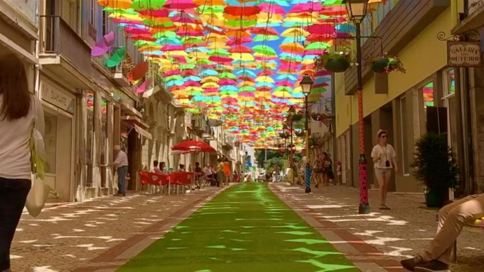 Regenschirm-Strassen weltweit