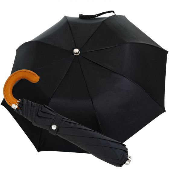 Oertel Handmade pocket umbrella - leather cognac | European Umbrellas