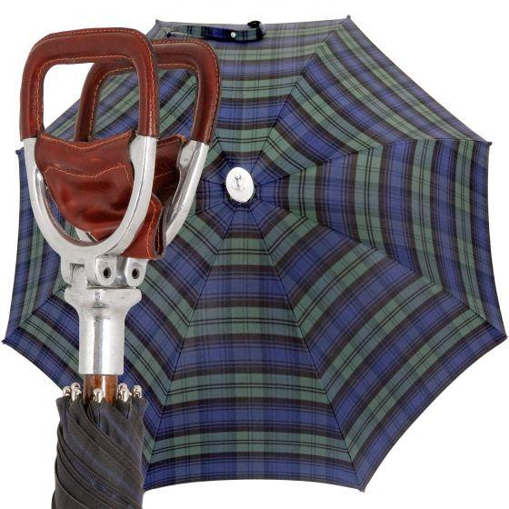 Marchesato Handmade leather seat - blue-green | European Umbrellas